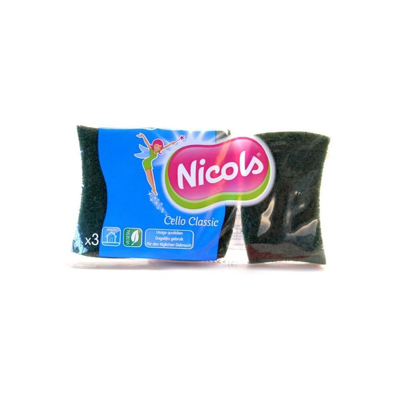 NICOLS CELLULOSE SCHUURSPONS CELLO CLASSIC GROEN X 3