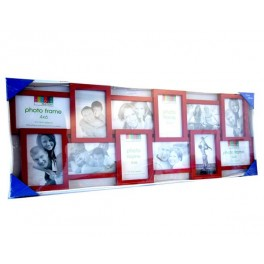 CADRE PHOTO PELE MELE X 12 PHOTOS (10 CM X 15 CM) ROUGE