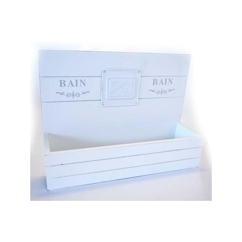 ETAGERE BAIN BLANC EN BOIS 11 X 35,5 X 25 CM