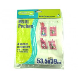 MULTI POCHES 4 POCHES CHAT ROSE