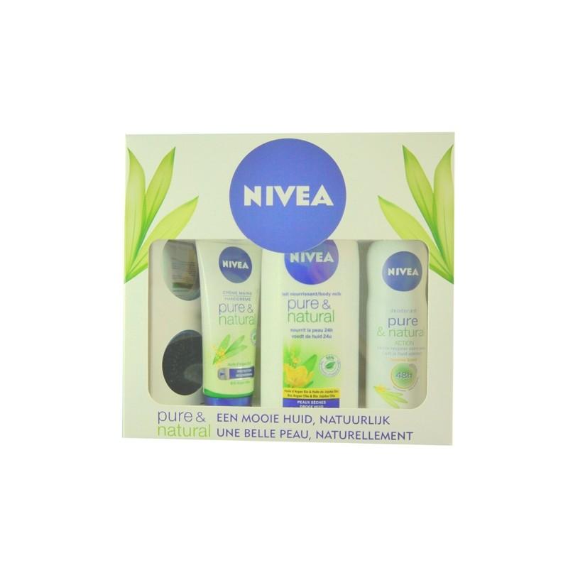 NIVEA GIFTPACK PURE & NATURAL           (BODYMILK 400ML+DEO 150ML+HANDCR. 100ML)