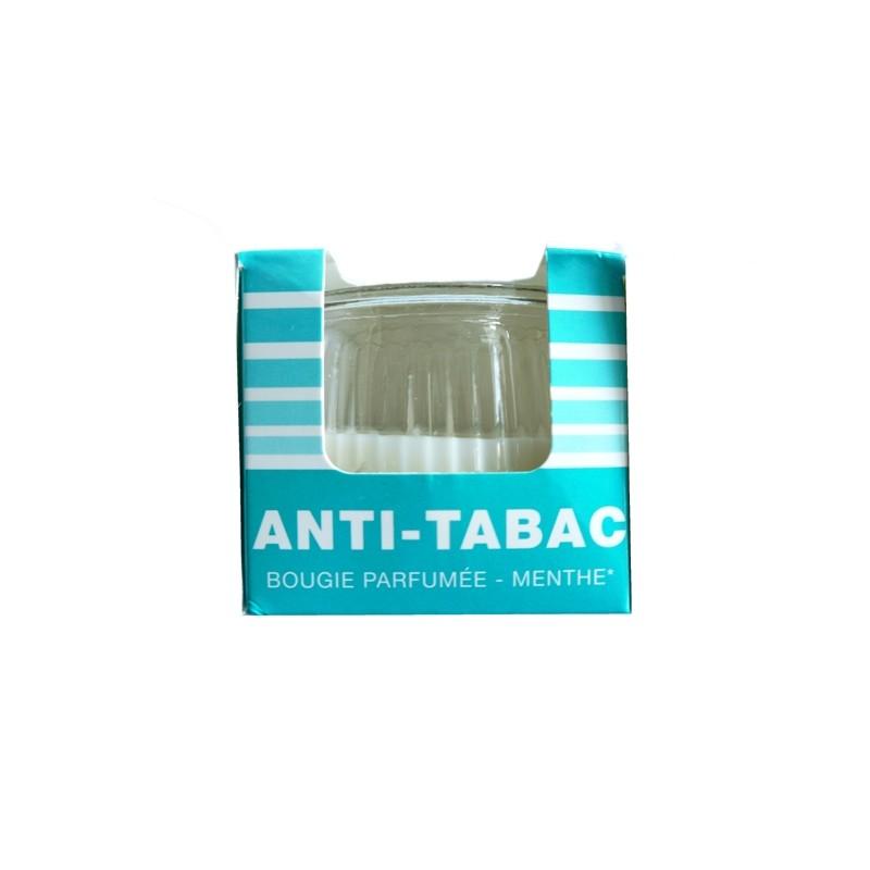 GLASS CANDLE ANTI TOBACCO MINT H: 7 CM