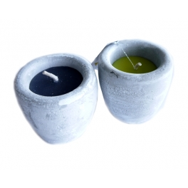 CANDLE ROUND POT CEMENT + H: 8 CM