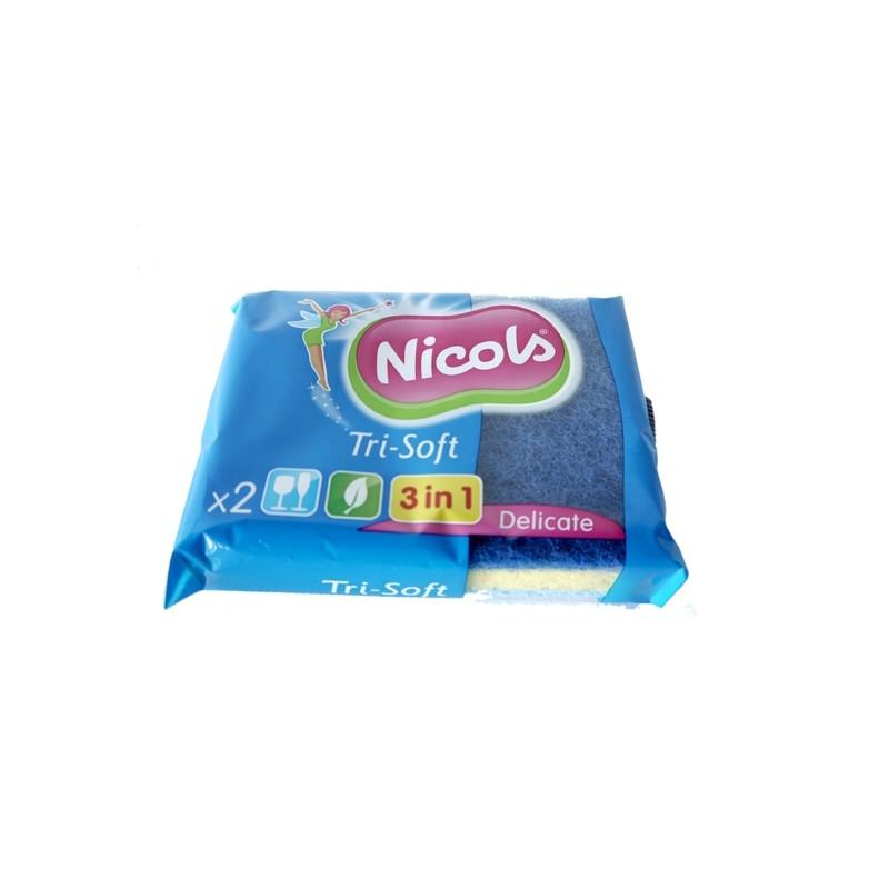 NICOLS SYNTHETIC ABRASIVE SPONGE TRI-SOFT 3 IN 1 X 2