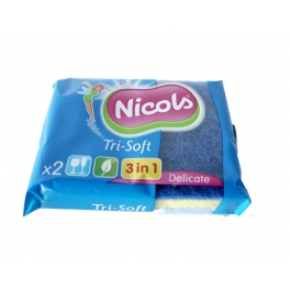 NICOLS SYNTHETISCHE SCHUURSPONS TRI-SOFT 3 IN 1 X2