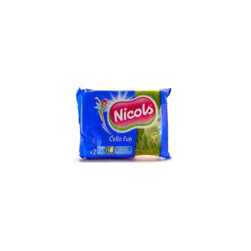 NICOLS EPONGE SYNTHETIQUE CELLO FUN VERT FLUO X2