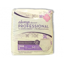 ALWAYS DISCREET PROFESSIONAL ONDERGOED VOOR URINEVERLIES NORMAL MEDIUM 12ST