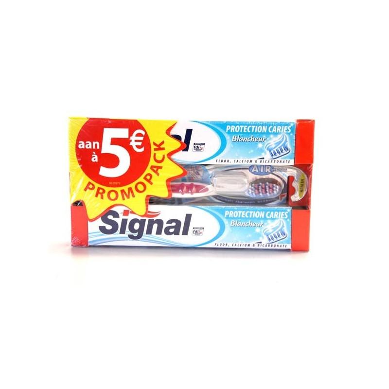 SIGNAL SET/ 2 TANDPASTA 75 ML  ANTI-CARIES +TB MEDIUM AIR PRECIS